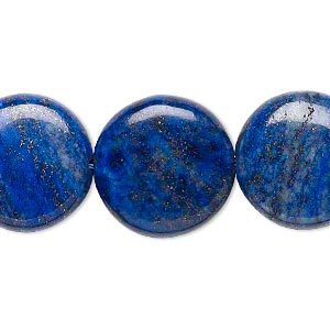 bead, lapis lazuli (dyed), 17-18mm puffed flat round, d grade, mohs hardness 5 to 6. sold per 15-inch strand.