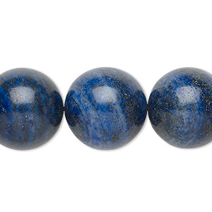 bead, lapis lazuli (dyed), 18-19mm round, b grade, mohs hardness 5 to 6. sold per 8-inch strand.