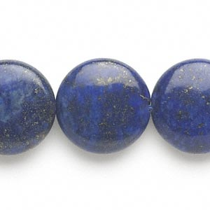 bead, lapis lazuli (dyed), 20mm puffed flat round, c grade, mohs hardness 5 to 6. sold per 16-inch strand.