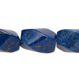 bead, lapis lazuli (dyed), 20x14mm-21x15mm twisted oval, b grade, mohs hardness 5 to 6. sold per 8-inch strand.