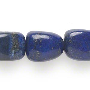 bead, lapis lazuli (dyed), medium nugget, mohs hardness 5 to 6. sold per 16-inch strand.