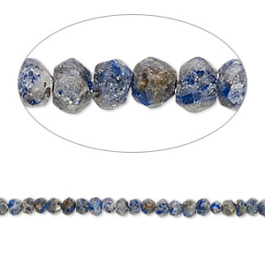 bead, lapis lazuli (natural), 2x1mm-3x2mm hand-cut faceted rondelle, c- grade, mohs hardness 5 to 6. sold per 12-inch strand.