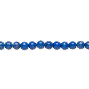 bead, lapis lazuli (natural), 4-5mm round, c grade, mohs hardness 5 to 6. sold per 15-inch strand.