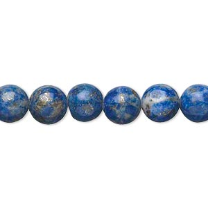 bead, lapis lazuli (natural), 7-9mm round, d grade, mohs hardness 5 to 6. sold per 15-inch strand.