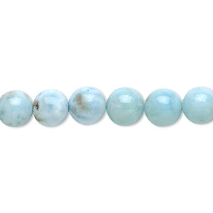 bead, larimar (natural), 8-9mm round, b- grade, mohs hardness 4-1/2 to 5. sold per 4-inch strand, approximately 10 beads.