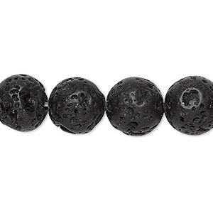 bead, lava rock (waxed), 12mm round, b grade, mohs hardness 3 to 3-1/2. sold per 16-inch strand.
