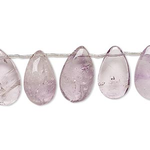 bead, lavender amethyst (natural / dyed), 13x10mm-17x11mm hand-cut top-drilled puffed teardrop, c grade, mohs hardness 7. sold per pkg of 14 beads.