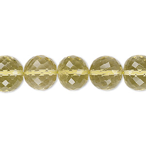 bead, lemon quartz (heated), 10-16mm graduated hand-cut faceted round, b+ grade, mohs hardness 7. sold per 8-inch strand.