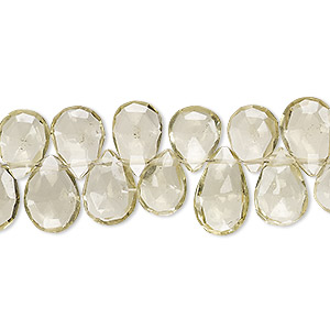 bead, lemon quartz (heated), 10x7mm-13x9mm hand-cut top-drilled faceted puffed teardrop, b+ grade, mohs hardness 7. sold per 5-inch strand.