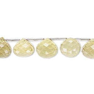bead, lemon quartz (heated), 10x9mm-12x11mm hand-cut top-drilled faceted teardrop, b grade, mohs hardness 7. sold per pkg of 6 beads.