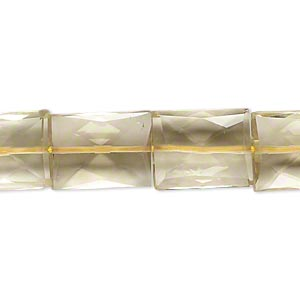 bead, lemon quartz (heated), 12x10mm-15x12mm hand-cut faceted puffed rectangle, b grade, mohs hardness 7. sold per 14-inch strand.