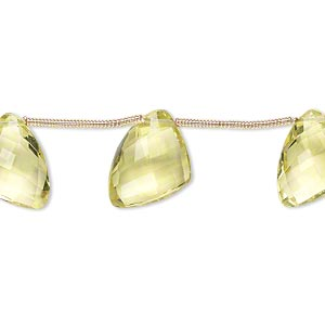 bead, lemon quartz (heated), 12x9x9mm-15x12x12mm graduated hand-cut top-drilled faceted irregular triangle, b+ grade, mohs hardness 7. sold per pkg of 6 beads.