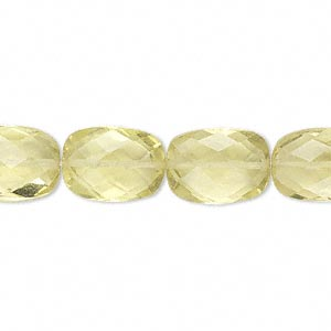 bead, lemon quartz (heated), 14x10mm hand-cut faceted puffed rectangle, b grade, mohs hardness 7. sold per pkg of 10.