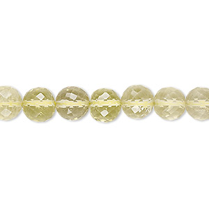 bead, lemon quartz (heated), 7-8mm hand-cut faceted round, b+ grade, mohs hardness 7. sold per 8-inch strand.