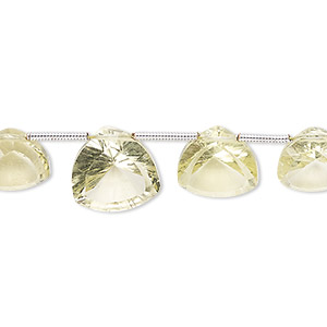 bead, lemon quartz (heated), 9-12mm hand-cut top-drilled faceted rounded triangle, b+ grade, mohs hardness 7. sold per pkg of 17 beads.