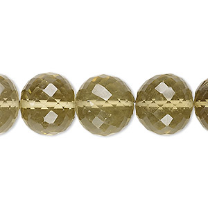 bead, lemon smoky quartz (heated / irradiated), light to medium, 13-16mm graduated hand-cut faceted round, b grade, mohs hardness 7. sold per 8-inch strand.