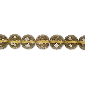bead, lemon smoky quartz (heated / irradiated), light to medium, 7-8mm hand-cut faceted round, a- grade, mohs hardness 7. sold per 8-inch strand.