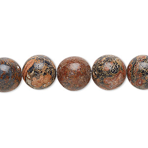 bead, leopardskin jasper (natural), 10mm round, b grade, mohs hardness 6-1/2 to 7. sold per 16-inch strand.