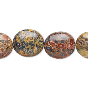 bead, leopardskin jasper (natural), 16x14mm flat oval, b grade, mohs hardness 6-1/2 to 7. sold per 16-inch strand.