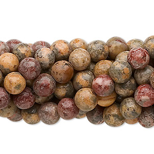 bead, leopardskin jasper (natural), 6mm round, c grade, mohs hardness 6-1/2 to 7. sold per pkg of (10) 16-inch strands.