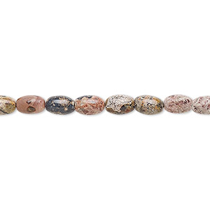 bead, leopardskin jasper (natural), 6x4mm oval, b grade, mohs hardness 6-1/2 to 7. sold per 16-inch strand.