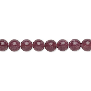 bead, lepidolite (stabilized), 6mm round with 0.5-1.5mm hole, b+ grade, mohs hardness 2-1/2 to 4. sold per 16-inch strand.