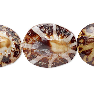 bead, limpet shell (natural), 22x18mm-38x32mm seashell with 0.8-1.1mm hole, mohs hardness 3-1/2. sold per 16-inch strand.