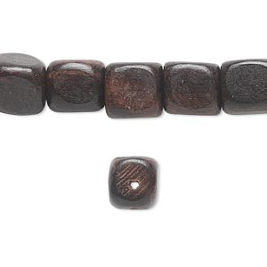 bead, mabolo tree wood (coated), 9x9mm rounded cube. sold per 16-inch strand.