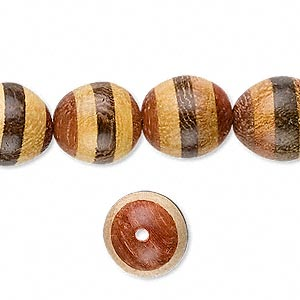 bead, madre cacao / nangka / roble wood, yellow and brown, 13x11mm oval. sold per 16-inch strand.