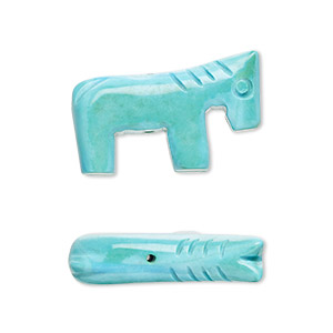 bead, magnesite (dyed / stabilized), blue, 25x15mm hand-cut horse, b grade, mohs hardness 3-1/2 to 4. sold per pkg of 2.