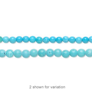 bead, magnesite (dyed / stabilized), blue, 3mm round, b grade, mohs hardness 3-1/2 to 4. sold per 16-inch strand.