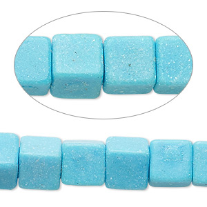 bead, magnesite (dyed / stabilized), blue, 3x3mm-5x5mm cube, b- grade, mohs hardness 3-1/2 to 4. sold per 15-inch strand.