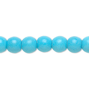 bead, magnesite (dyed / stabilized), blue, 8mm round, b grade, mohs hardness 3-1/2 to 4. sold per 16-inch strand.