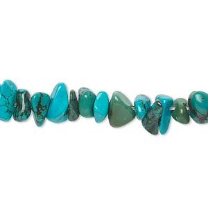 bead, magnesite (dyed / stabilized), blue and green, medium chip, mohs hardness 3-1/2 to 4. sold per 15-inch strand.