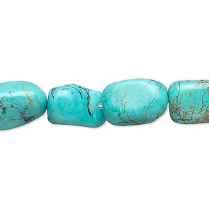 bead, magnesite (dyed / stabilized), blue and green, small tumbled nugget, mohs hardness 3-1/2 to 4. sold per 15-inch strand.