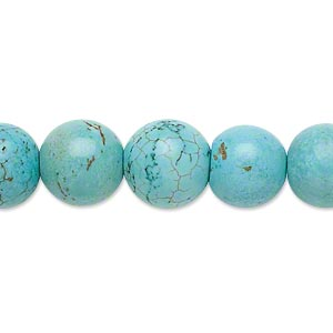 bead, magnesite (dyed / stabilized), blue-green, 11-12mm round, c grade, mohs hardness 3-1/2 to 4. sold per 15-inch strand.
