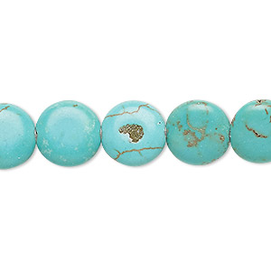 bead, magnesite (dyed / stabilized), blue-green, 12mm puffed flat round, c- grade, mohs hardness 3-1/2 to 4. sold per 15-inch strand.