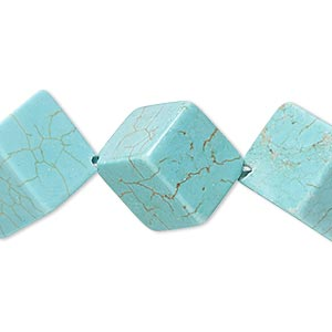 bead, magnesite (dyed / stabilized), blue-green, 18x8mm-20x20mm diagonally drilled cube, c grade, mohs hardness 3-1/2 to 4. sold per 8-inch strand.