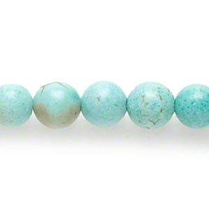 bead, magnesite (dyed / stabilized), blue-green, 4-5mm round, c grade, mohs hardness 3-1/2 to 4. sold per 15-inch strand.