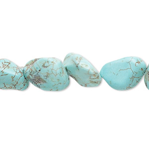 bead, magnesite (dyed / stabilized), blue-green, small nugget, mohs hardness 3-1/2 to 4. sold per 15-inch strand.