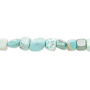 bead, magnesite (dyed / stabilized), blue-green, small tumbled pebble, mohs hardness 3-1/2 to 4. sold per 15-inch strand.