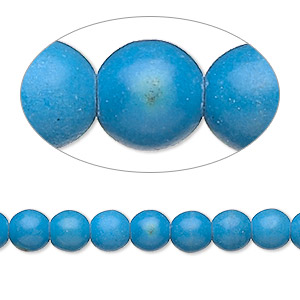 bead, magnesite (dyed / stabilized), dark blue, 5-6mm round, c grade, mohs hardness 3-1/2 to 4. sold per 15-inch strand.