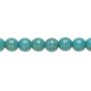 bead, magnesite (dyed / stabilized), dark blue-green, 7mm round, b grade, mohs hardness 3-1/2 to 4. sold per 15-inch strand.