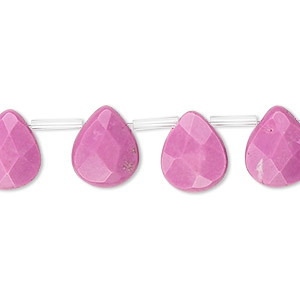 bead, magnesite (dyed / stabilized), fuchsia, 12x10mm top-drilled faceted teardrop, b- grade, mohs hardness 3-1/2 to 4. sold per 16-inch strand, approximately 30 beads.