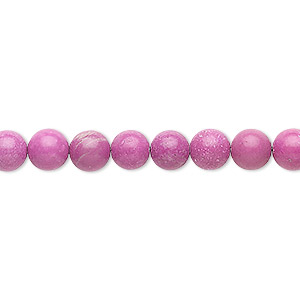 bead, magnesite (dyed / stabilized), fuchsia, 6mm round, b grade, mohs hardness 3-1/2 to 4. sold per 16-inch strand.