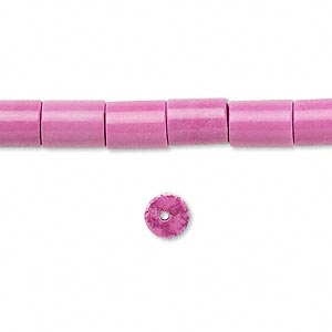 bead, magnesite (dyed / stabilized), fuchsia, 8x6mm round tube, c+ grade, mohs hardness 3-1/2 to 4. sold per 16-inch strand.