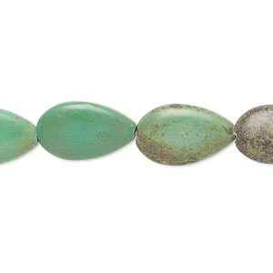 bead, magnesite (dyed / stabilized), green, 16x10mm-17x11mm flat teardrop, c grade, mohs hardness 3-1/2 to 4. sold per 15-inch strand.