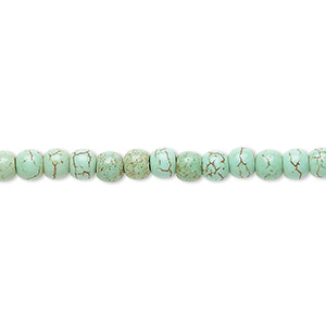 bead, magnesite (dyed / stabilized), green, 3-5mm round, b- grade, mohs hardness 3-1/2 to 4. sold per 15-inch strand.