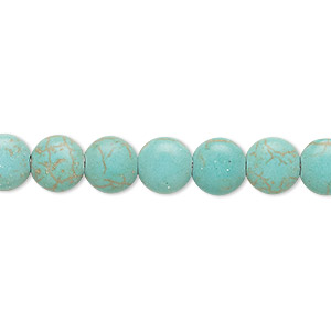 bead, magnesite (dyed / stabilized), green, 8mm puffed flat round, c grade, mohs hardness 3-1/2 to 4. sold per 15-inch strand.
