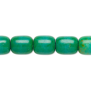 bead, magnesite (dyed / stabilized), kelly green, 11x9mm-12x10mm barrel, c- grade, mohs hardness 3-1/2 to 4. sold per 15-inch strand.